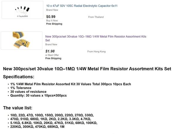 resistor assortment less than a penny each