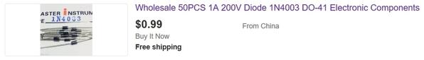 1n4003 diodes 2 cents each
