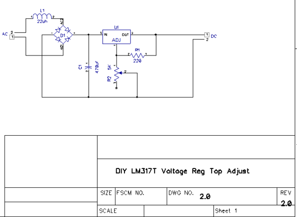 DIY LM317T Voltage Reg Top Adjust Circuit Snip