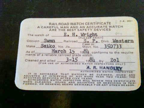SP Railroad Watch Certification Card