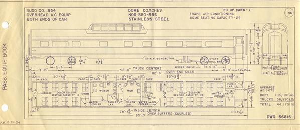 NP NCL dome coach Budd line drawing