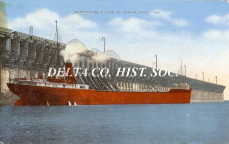 Escanaba ore dock with freighter