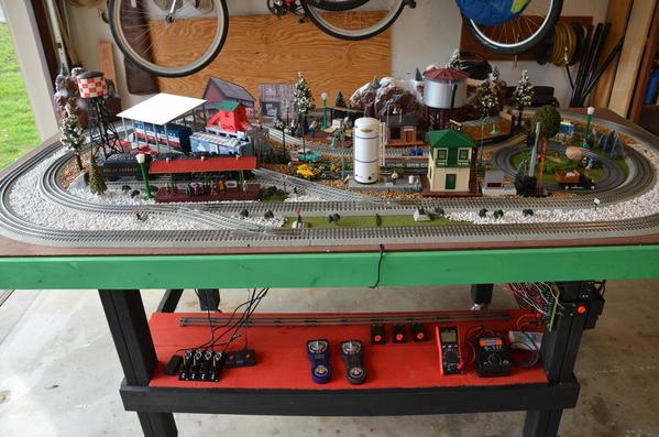 Train layout garage