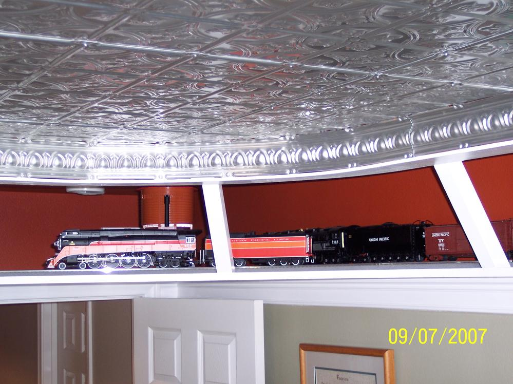 Planning a book shelf layout near the ceiling : O Gauge Railroading On Line Forum