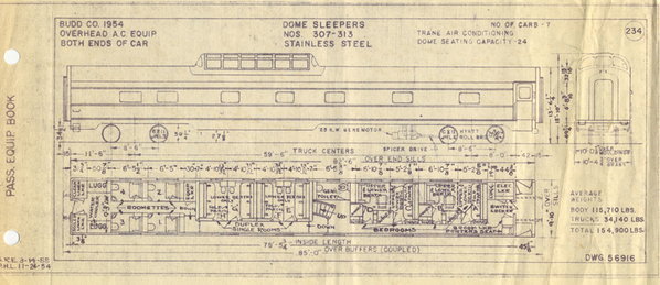 NP NCL dome sleeper Budd drawing spec
