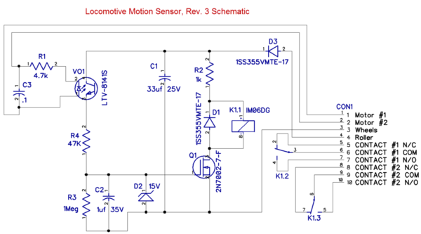 Locomotive Motion Sensor, Rev. 3 Schematic