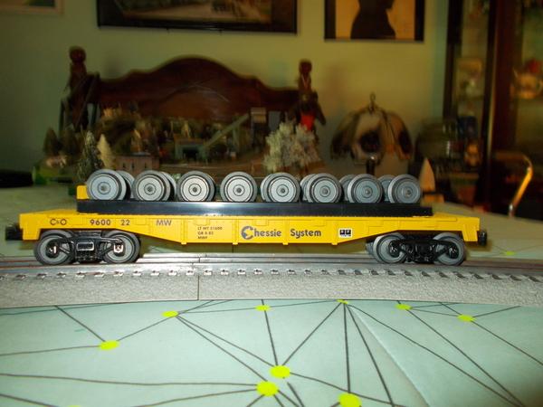 MTH Railking Chessie System Flatcar With Train Wheels