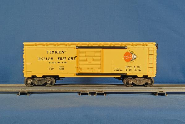 Car_Lionel_Boxcar_Uhl_Timken_Yellow