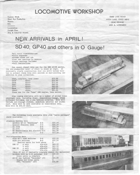 Locomotive Workshop Diesel List 1