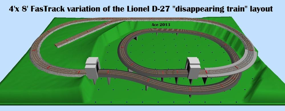 "Variations on the Lionel D-27 ""disappearing train"" layout ..."
