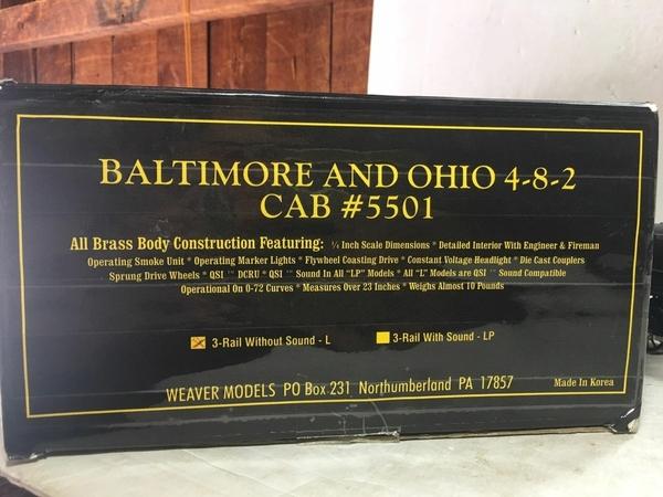 Weaver 1701-L B&O # 5501 CUSTOM Brass 4-8-2 w Vandy Tender [2000 Custom, 745 list) Actual Box End Photo