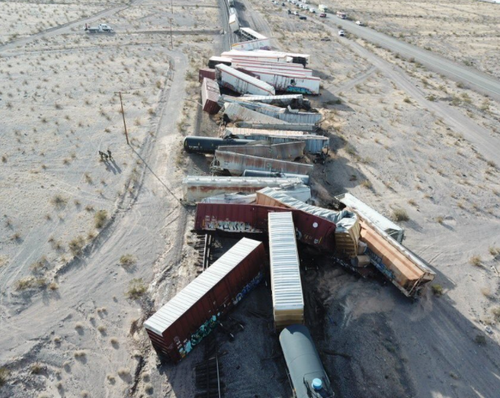 Train wreck March 3 2021 California desert