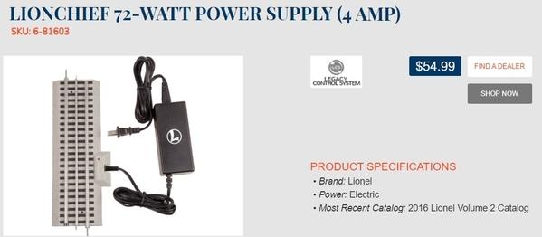 lionchief 72W 4 Amp DC-output adapter