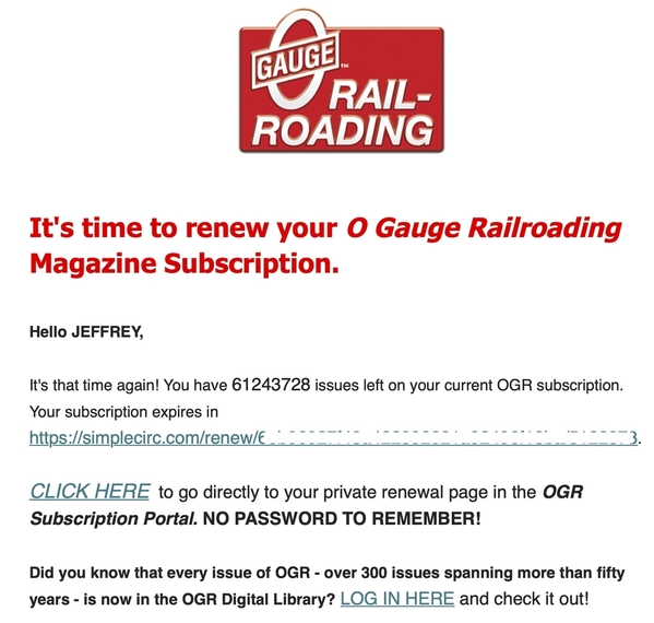 Your O Gauge Railroading magazine subscription has expired copy
