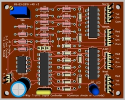 4-Way Traffic Signals CA-CC 74AC86 v4D PCB 3D