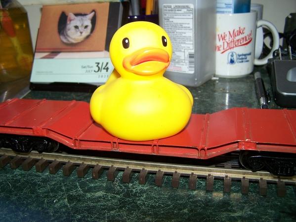 Rubber duckie on depressd-center flat