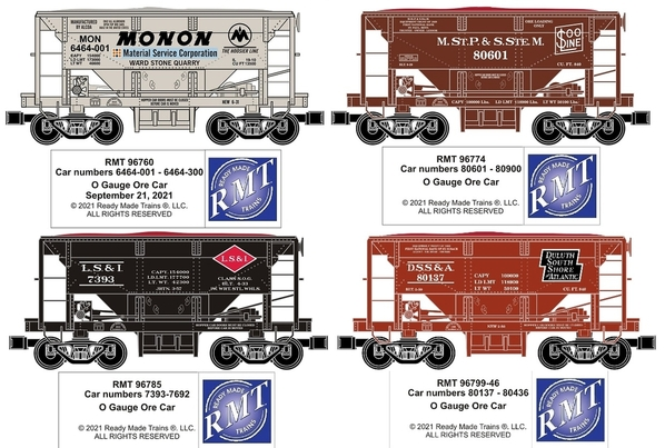 All 4 Ore Cars for Pats trains 9-23-2021
