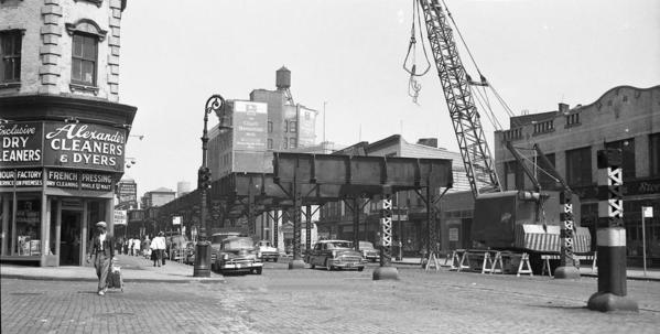 1958 view of the demolition of the 3rd Ave El looking North from 146th St to the remaining structure being removed to the South end of the 149th St station.