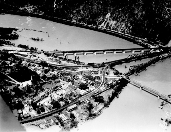 Harpers Ferry Bridges BW Aerial