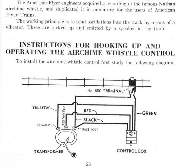 1950 u0026 39 s  u0026quot american flyer air chime whistle u0026quot
