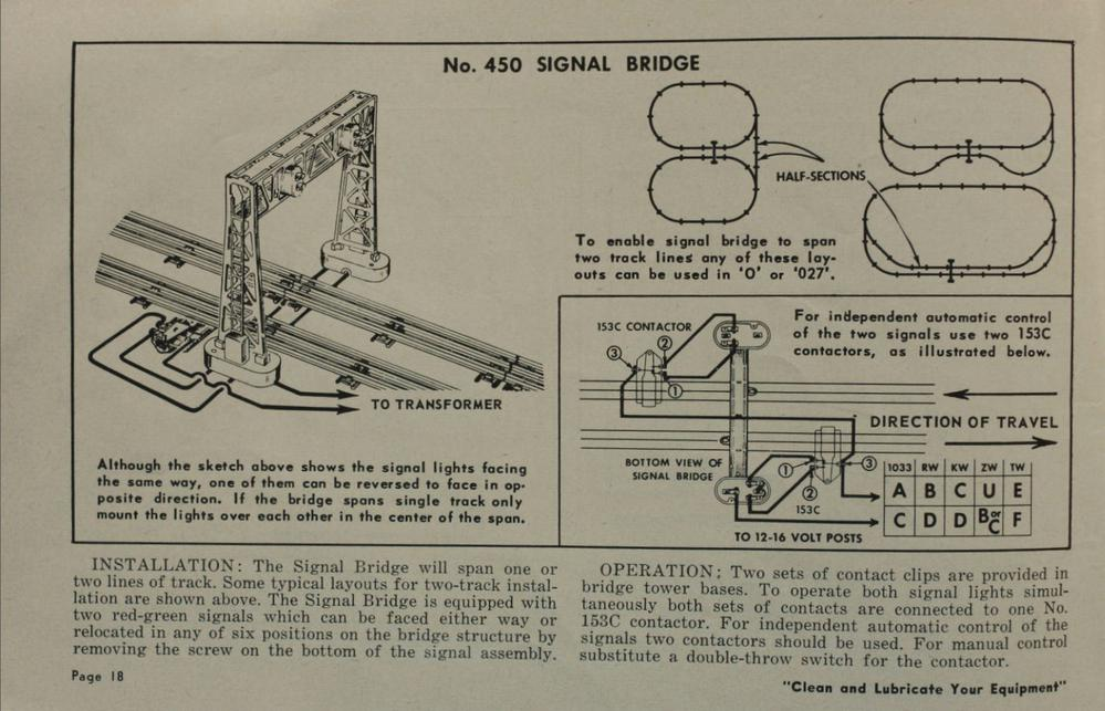 Lionel 1954 Operators Manual p.18 lionel 450 signal bridge wiring for 2 trains o gauge railroading  at aneh.co