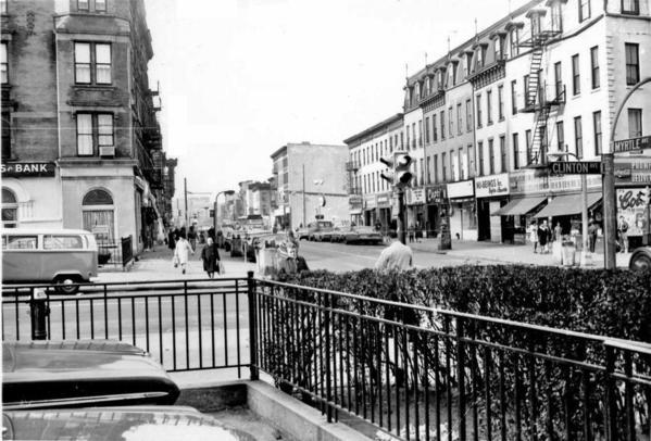 Neg#3854-19-S on Myrtle Ave SB at Clinton St-9-1970