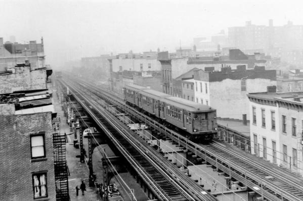 Neg#3573 View downtown to SB Myrtle Ave EL Local from Vanderbilt STA-9-1969