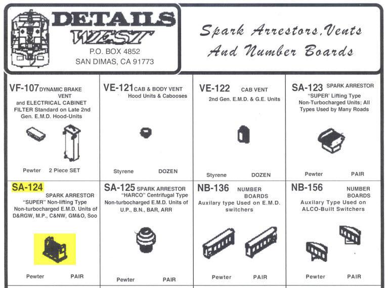 Spark Arrestor Super Non-Lifting Type pr Details West 124 HO Scale