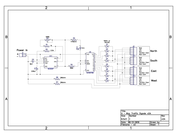 4-Way Traffic Signals Schematic v2A