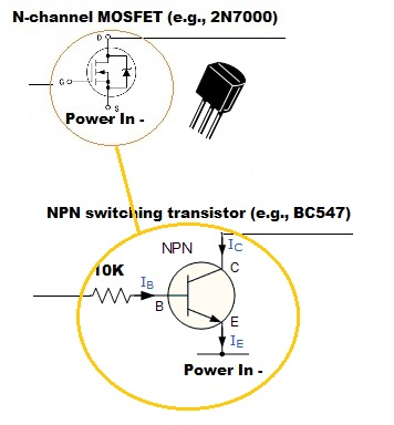 N-FET or NPN with resistor