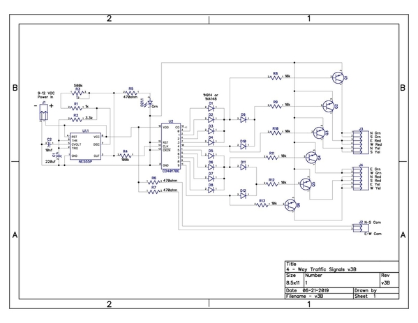 4-Way Traffic Signals Opto-Iso Schematic v3B