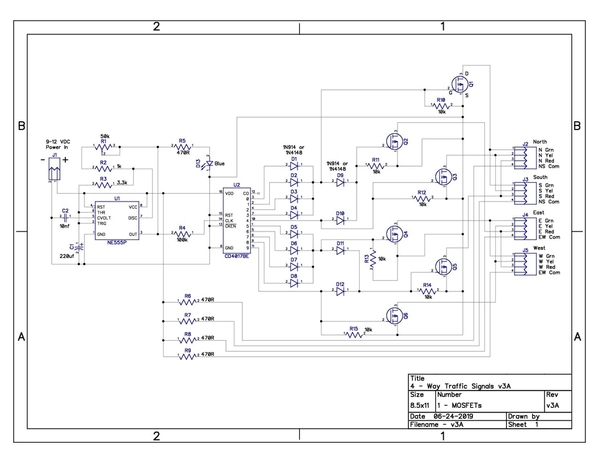 4-Way Traffic Signals Schematic-MOSFETs v3A