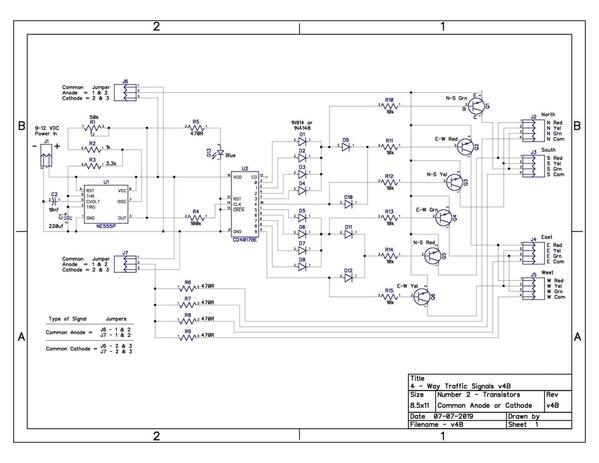 4-Way Traffic Signals Schematic-Transistors v4B
