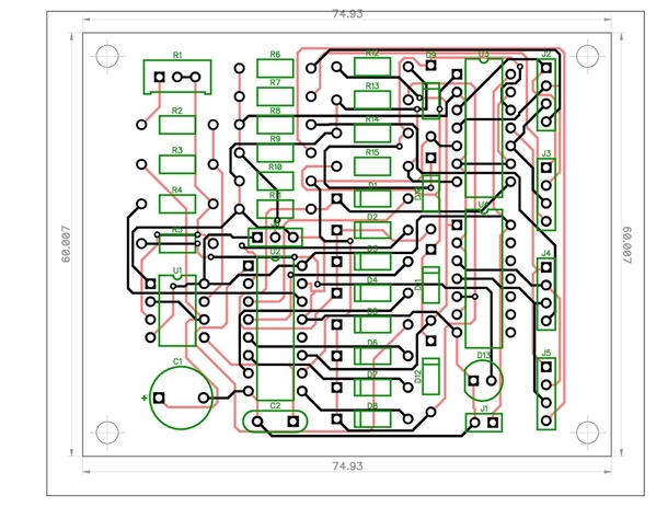 4-Way Traffic Signals Schematic-PCB-v4D-CA & CC