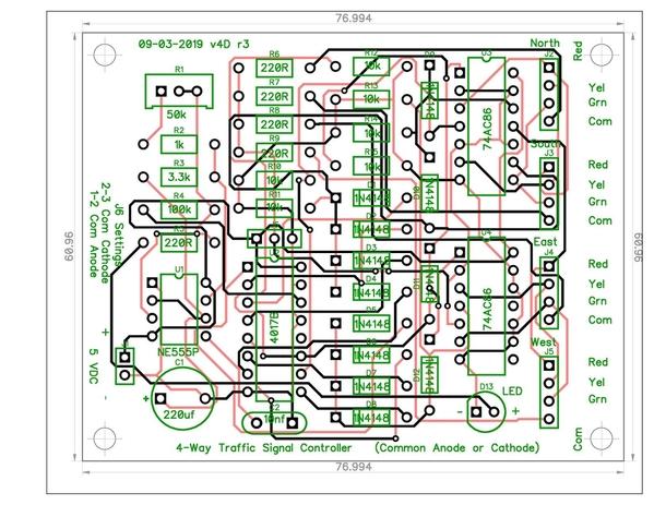 4-Way Traffic Signals CA-CC 74AC86 v4D PCB