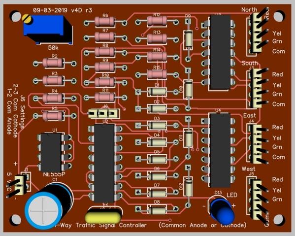 4-Way Traffic Signals CA-CC 74AC86 v4D PCB 3D