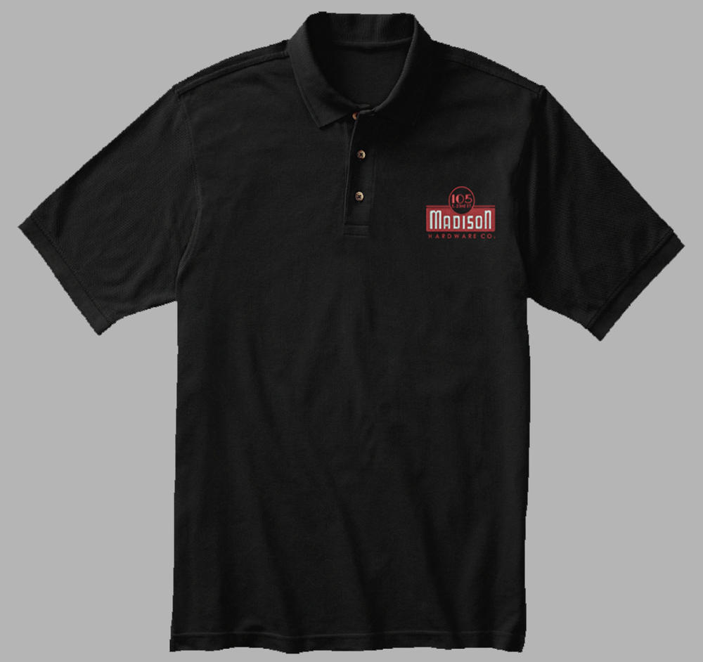 Madison hardware embroidered polo final day to order o for Order custom polo shirts