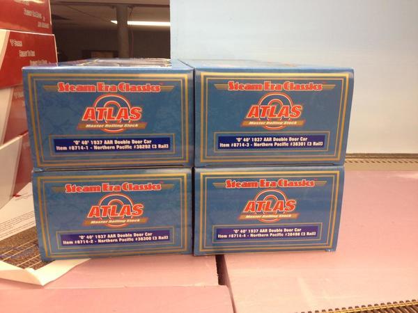 Four Atlas NP box car labels