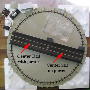 Atlas turntable top view with center rail arrows