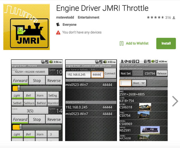 Engine Driver Smart Device Install