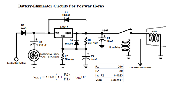 a question regarding the postwar horn battery eliminator circuit rh ogrforum ogaugerr com Antique Electronic Supply Battery Eliminator 9V Battery Eliminator