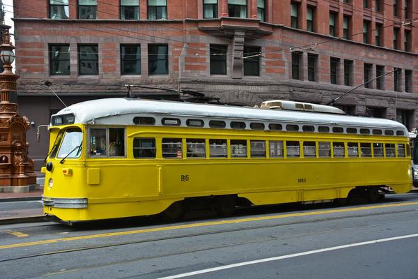 Vintage Baltimore PCC Streetcar on Market Street [1 of 1)