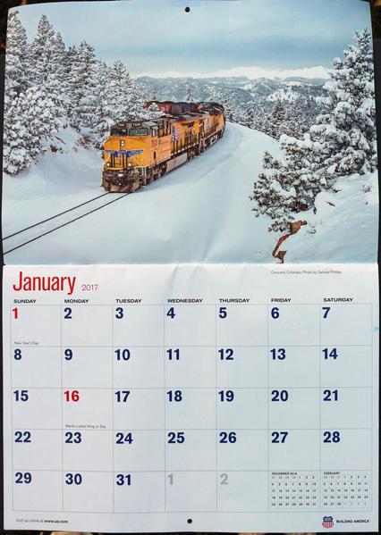 Union Pacific Calendar January 2017 Share Holder