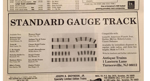 Antique Trains Track Ad copy