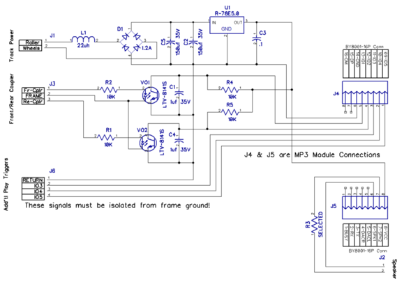 MP3 Discrete Interface Module 1.1 Schematic