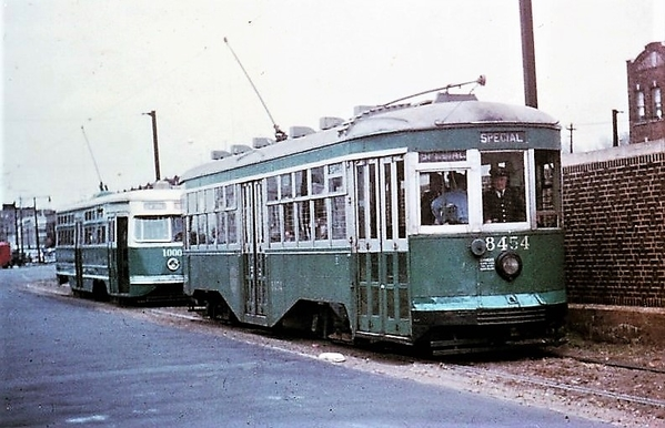 B&QT Peter Witt trolley No. 8454 with PCC 1000, McDonald Ave