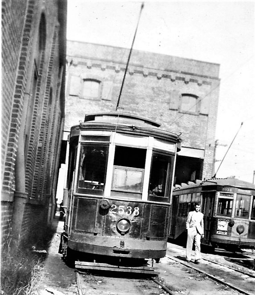 B&QT trolley Nos. 2538 and 8034, Flatland barn, Utica & N Aves