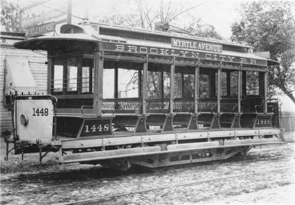 Brooklyn City R. R. open trolley No. 1448, Myrtle Avenue