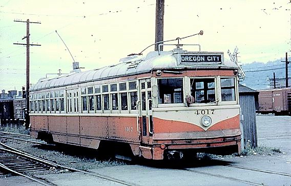Oregon City Car No. 4017, one of the last cars purchased for use on Portland streets, was called one of the Hollywoods because it came from Hollywood Boulevard in Los Angeles