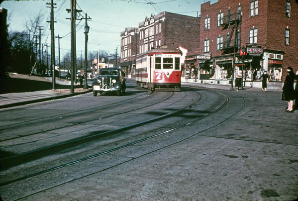 TARS Trolley eastbound on curving Yonkers Ave-1940's
